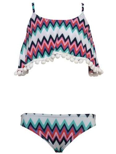 Planet Sea Little Girls Multi Color Chevron Stripe Bead 2 Pc Swimsuit 4