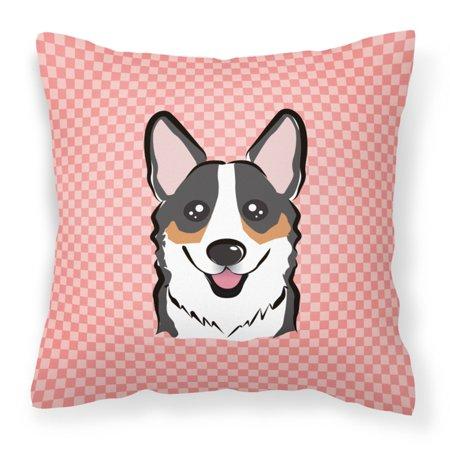 Carolines Treasures Checkerboard Pink Black Corgi Decorative Outdoor Pillow