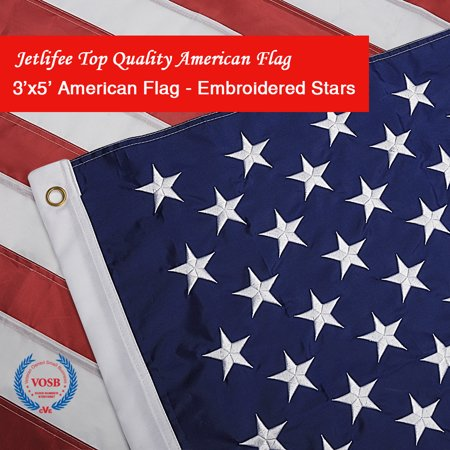 Veterans Day Flag (Jetlifee American Flag 3x5 Ft by US Veterans Owned Biz. Heavyweight Nylon Embroidered Stars Sewn Stripes and Brass Grommets US Flag. Fast Dry All Weather USA Flags for Indoors Outdoors)