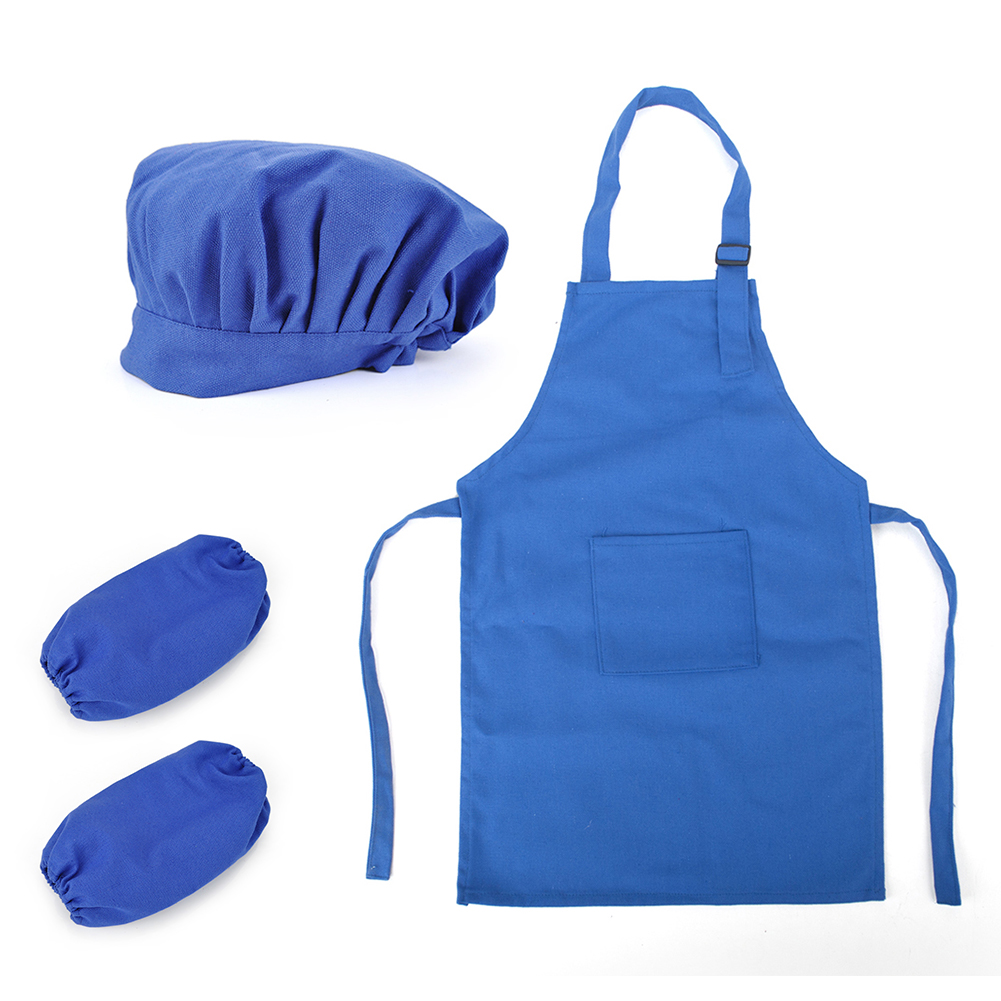 Opromo Colorful Cotton Canvas Kids Apron, Chef Hat and Oversleeve Set, Party Favors(S-XXL)-Coffee-S