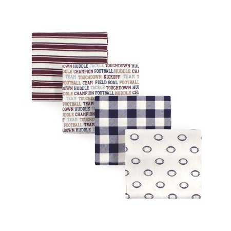 Hudson Baby Boy and Girl Flannel Receiving Blanket, Football, 4 Pack
