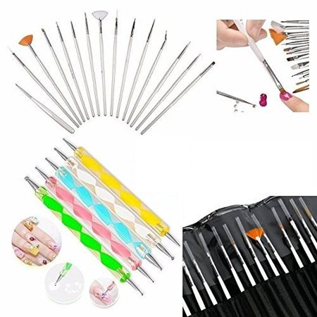 Glam Hobby 20pc Nail Art Manicure Pedicure Beauty Painting Polish Brush and Dotting Pen Tool Set for Natural, False, Acrylic and Gel Nails - Painting Halloween Nails
