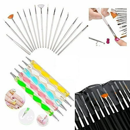 Glam Hobby 20pc Nail Art Manicure Pedicure Beauty Painting Polish Brush and Dotting Pen Tool Set for Natural, False, Acrylic and Gel Nails (Pro Nail Art Set)