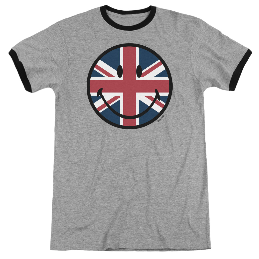 Smiley World Union Jack Face Mens Adult Heather Ringer Shirt