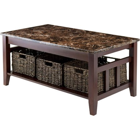 zoey coffee table with 3 storage baskets and faux marble top walnut