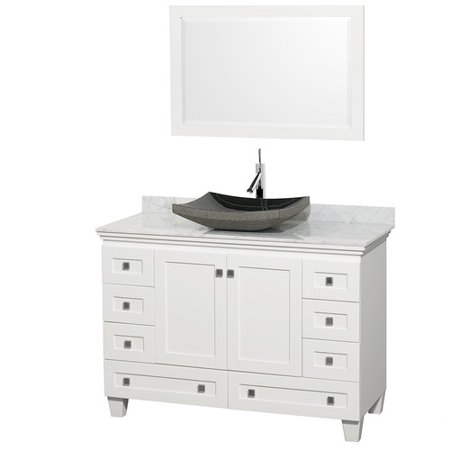 Wyndham Collection Acclaim 48 inch Single Bathroom Vanity in White, White Carrera Marble Countertop, Pyra Bone Sink, and 24 inch Mirror