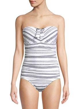 55c7ae799d Product Image Sandbar Stripe Shirred Bandeau One-Piece Swimsuit