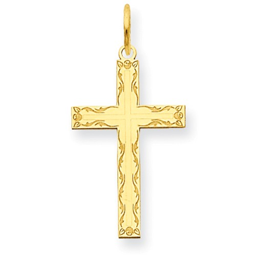 14k Yellow Gold Laser Designed Latin Cross Pendant