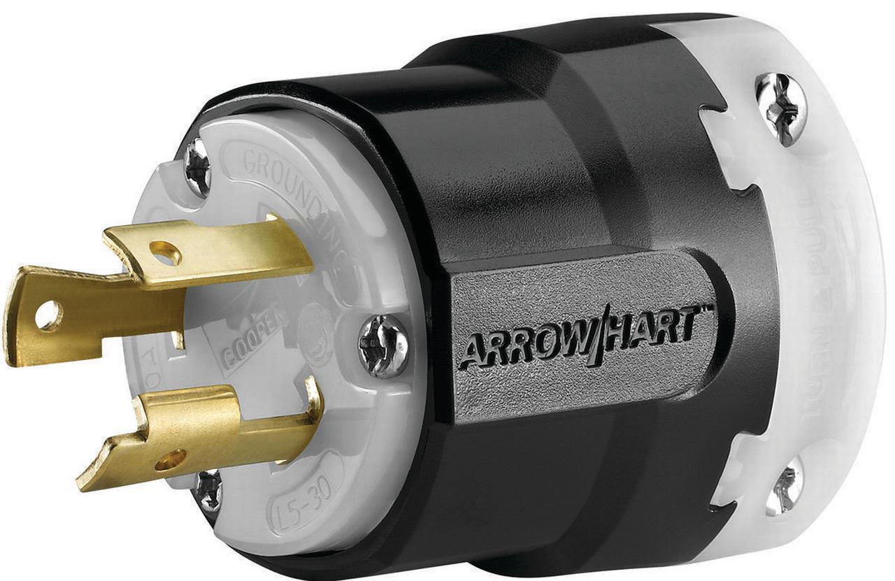 Cooper Wiring Arrow Hart Polarized Ultra Grip Plug  125 Vac  30 A  2 P  3 W  Black  White