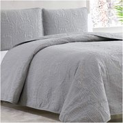 Mellanni Bedspread Coverlet Set, Comforter Bedding Cover, Oversized Quilt Set, 3 Piece, Full/Queen, Light Gray