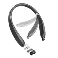 Neckband HiFi Sound Wireless Headset with Retracting Earbuds Premium Headphones Earphones Hands-free Mic [Folding] [Fonus] [Black] Compatible With Alcatel Onyx - LG V50 ThinQ 5G, G8 ThinQ