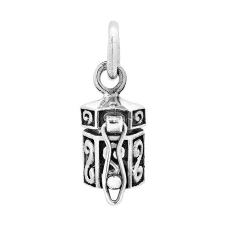Swirling Hexagon Shaped Sterling Silver Prayer Box Locket Pendant Sterling Silver Prayer Box