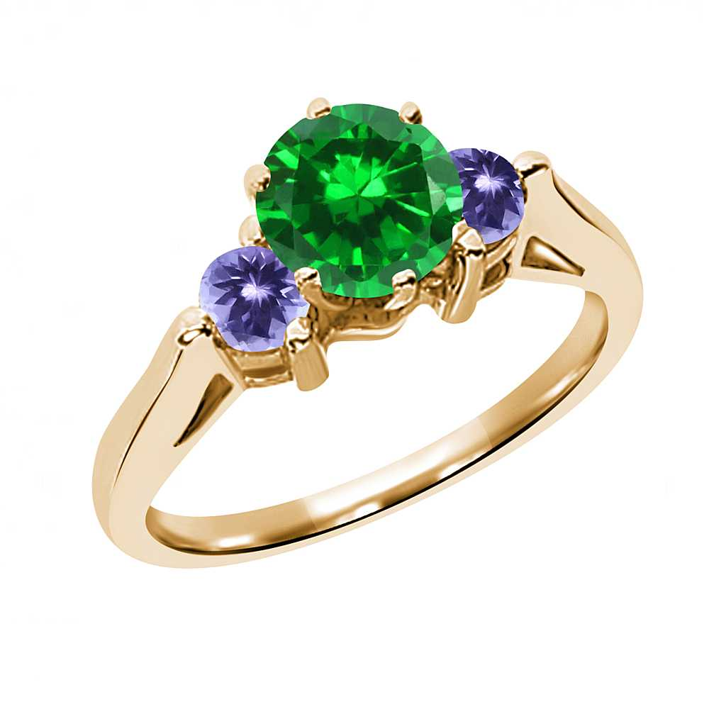1.00 Ct Round Green Simulated Emerald Blue Tanzanite 14K Yellow Gold 3-Stone Ring by