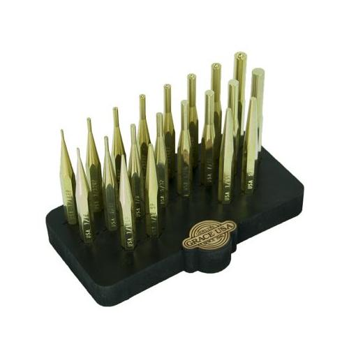 Grace USA 20 Piece Brass Punch Set w/Bench Block BP20SBB