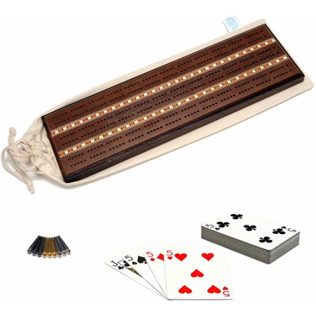 Cribbage Set - Deluxe Cribbage Set, Solid Oak Wood with Dark Stain with Inlay Sprint 3 Track Board with Brass Pegs, Deck of Cards and Canvas Storage Bag