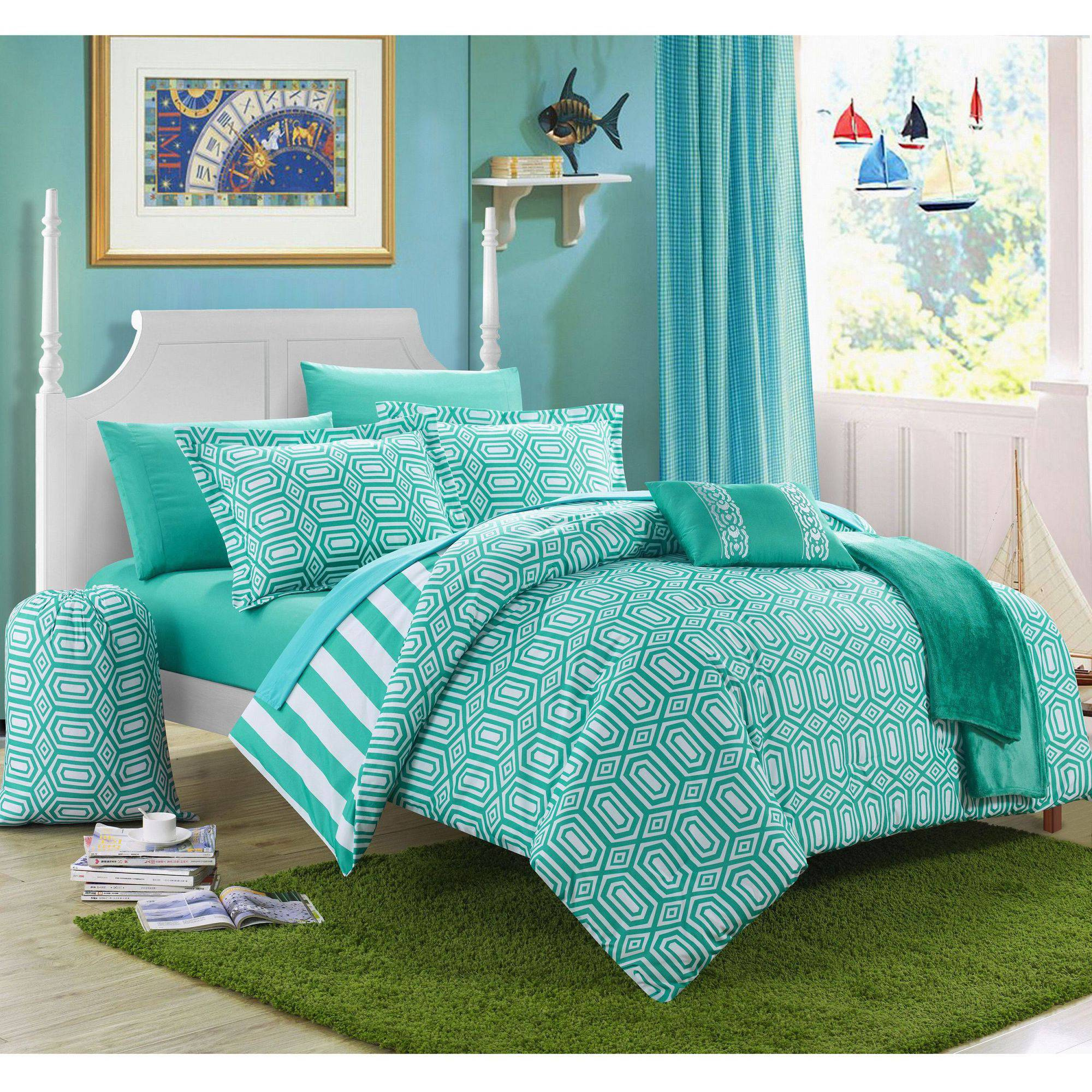 Chic Home 10-Piece Nantes Geometric and Striped Printed Reversible Comforter Set