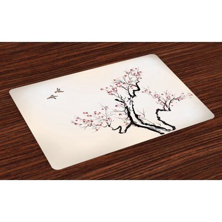 Floral Placemats Set of 4 Classic Asian Paint Style Artwork Flower Branches Blossom and Flying Birds Pattern, Washable Fabric Place Mats for Dining Room Kitchen Table Decor,Grey White, by Ambesonne