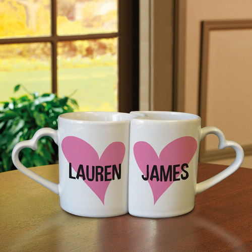 Personalized Interlocking Heart Mugs, Hearts
