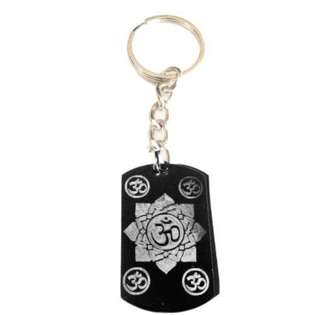 - Hindu Om Aum Lotus Flower Meditation Religion Religious Symbol Logo - Metal Ring Key Chain Keychain