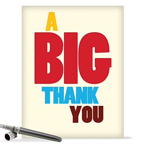 "J9689 Jumbo Hilarious Thank You Greeting Card: 'Big Thank You Thank You' with Envelope (Large Size: 8.5"" x 11"")"