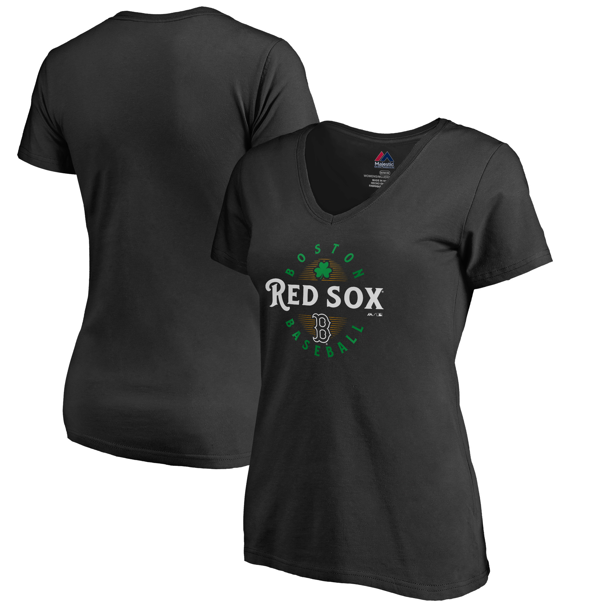 Boston Red Sox Majestic Women's 2019 St. Patrick's Day Forever Lucky V-Neck T-Shirt - Black