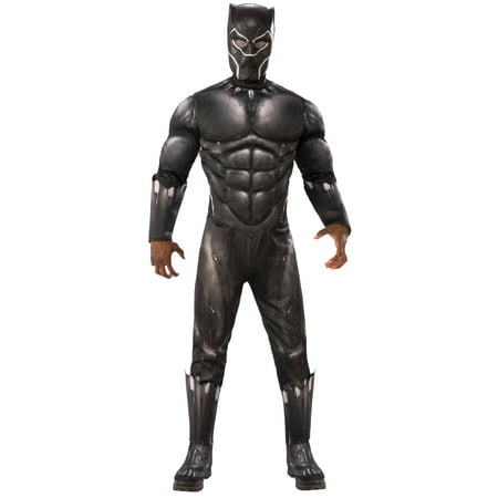 Marvel Black Panther Movie Mens Deluxe Black Panther Muscle Chest Halloween Costume - Long Black Hair Costume