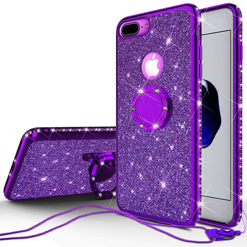 super popular e0f15 0c4e4 Glitter Cute Ring Stand Phone Case for Apple iPhone 8 Plus/Iphone 7 Plus  Case,Bling Bumper Kickstand Sparkly Clear Soft Protective for Girls Women -  ...