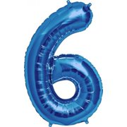 Number 6 - Blue Helium Foil Balloon - 34 inch