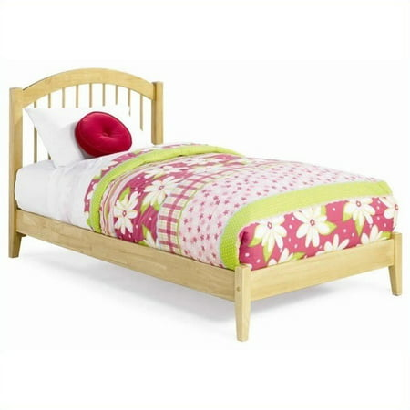 Atlantic Furniture Windsor Platform Bed with Open Footrail in Natural Maple-Full
