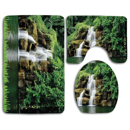 GOHAO Waterfall Double Waterfalls Flow to Natural Green Lake Bushes and Grass Like Garden 3 Piece Bathroom Rugs Set Bath Rug Contour Mat and Toilet Lid Cover (Garden Bathroom Rugs)