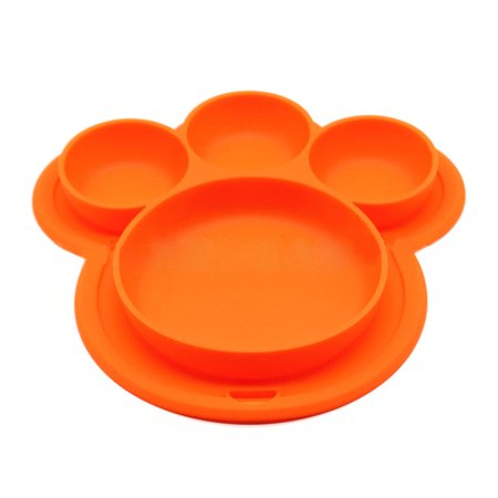 Childs Dinner - Outgeek Kids' Plate Cute Bear Paw Shape Suction Silicone Food Fruits Divided Plate Dinner Plate Dish Bowl Tableware Birthday Gift Toy for Kids Baby Toddler Boys Girls Home Travel