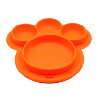 Product Image Outgeek Kids' Plate Cute Bear Paw Shape Suction Silicone Food Fruits Divided Plate Dinner Plate