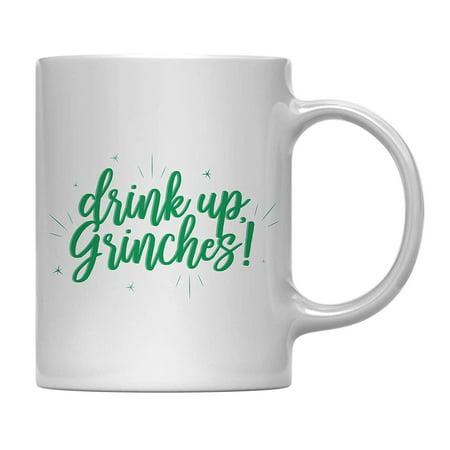 - Andaz Press 11oz. Funny Christmas Coffee Mug Gag Gift, Drink Up Grinches, 1-Pack