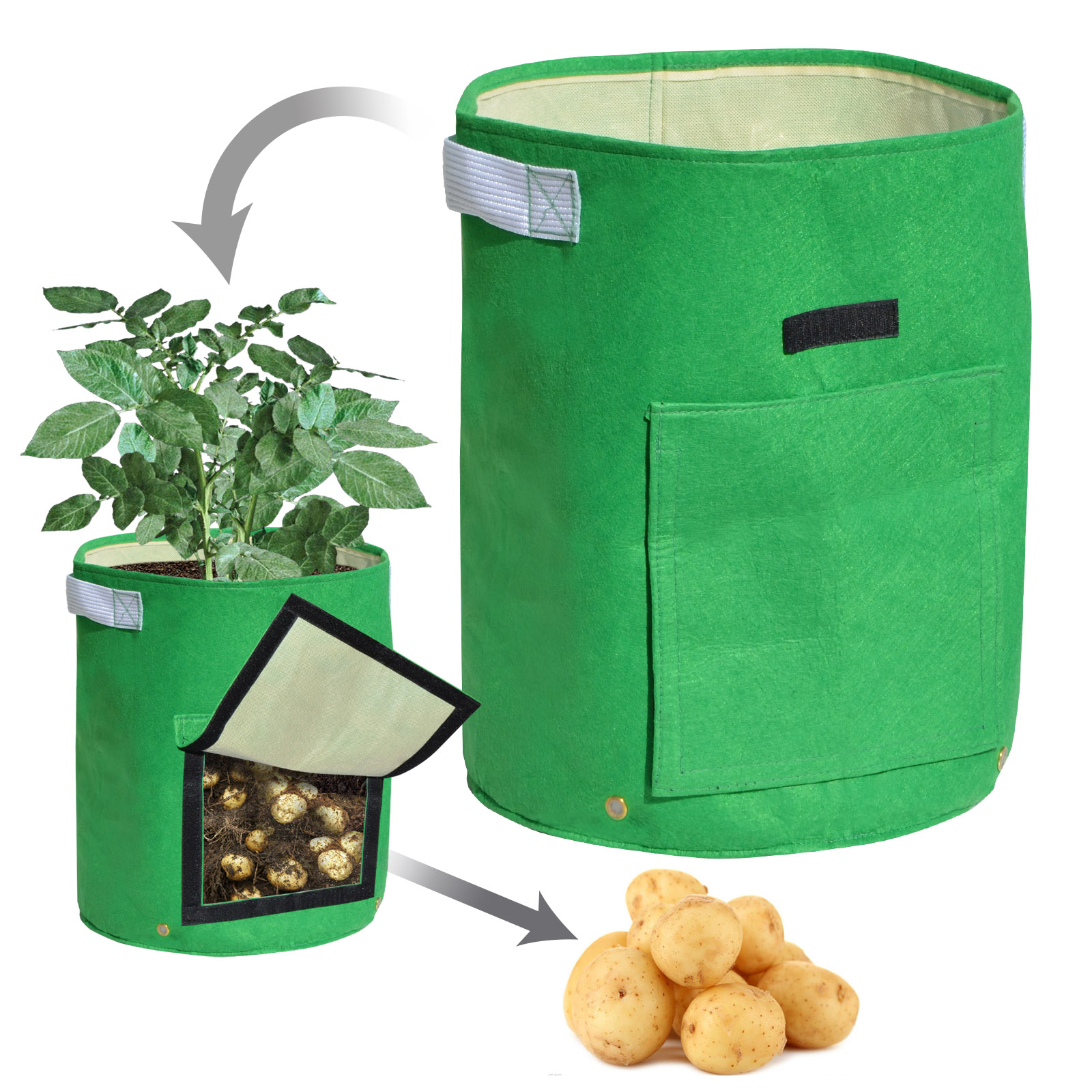 Strong Camel Garden Potato Grow Bag Planter Bag Felt Fabric for Vegetables Container Tub w Access Flap 2 PACK