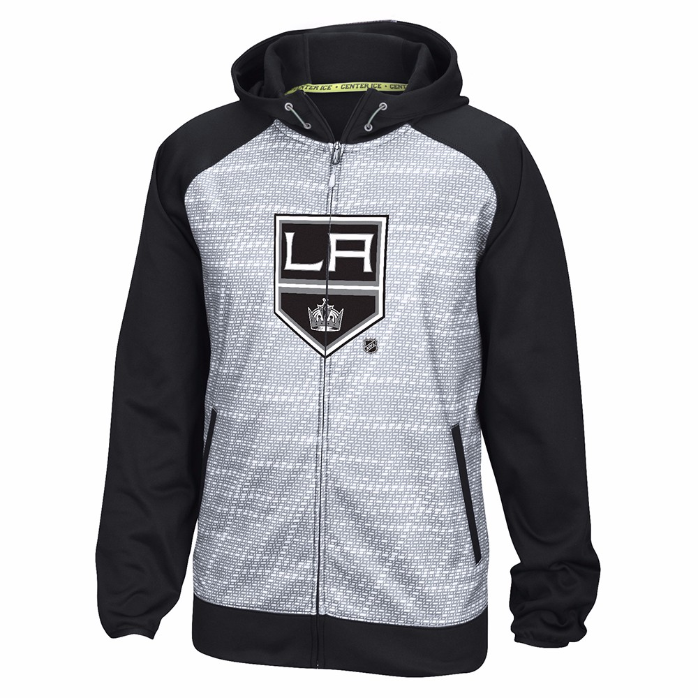 Los Angeles Kings NHL Reebok Black Center Ice TNT Speedwick Performance Full Zip Jacket For Men by Reebok