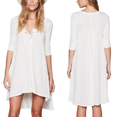 Plus Size Women V Neck Mini Dress Casual Loose 3/4 Sleeve Long Tops Shirt Tunic Dip Hem Dresses