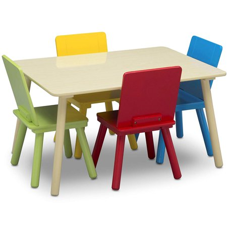 Delta Children Kids Wooden Play Activity Table & Chair Set, Natural &