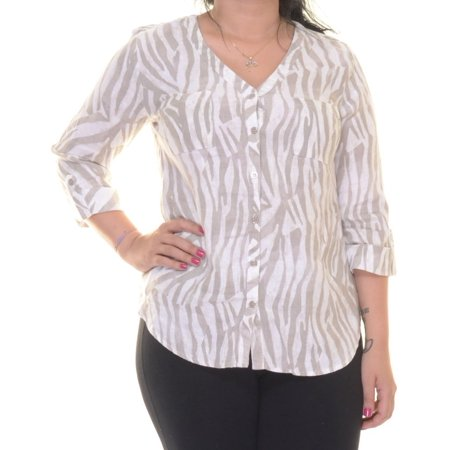 JM Collection Women's Tab Sleeve Shirt Size 12 Free Zebra Nue