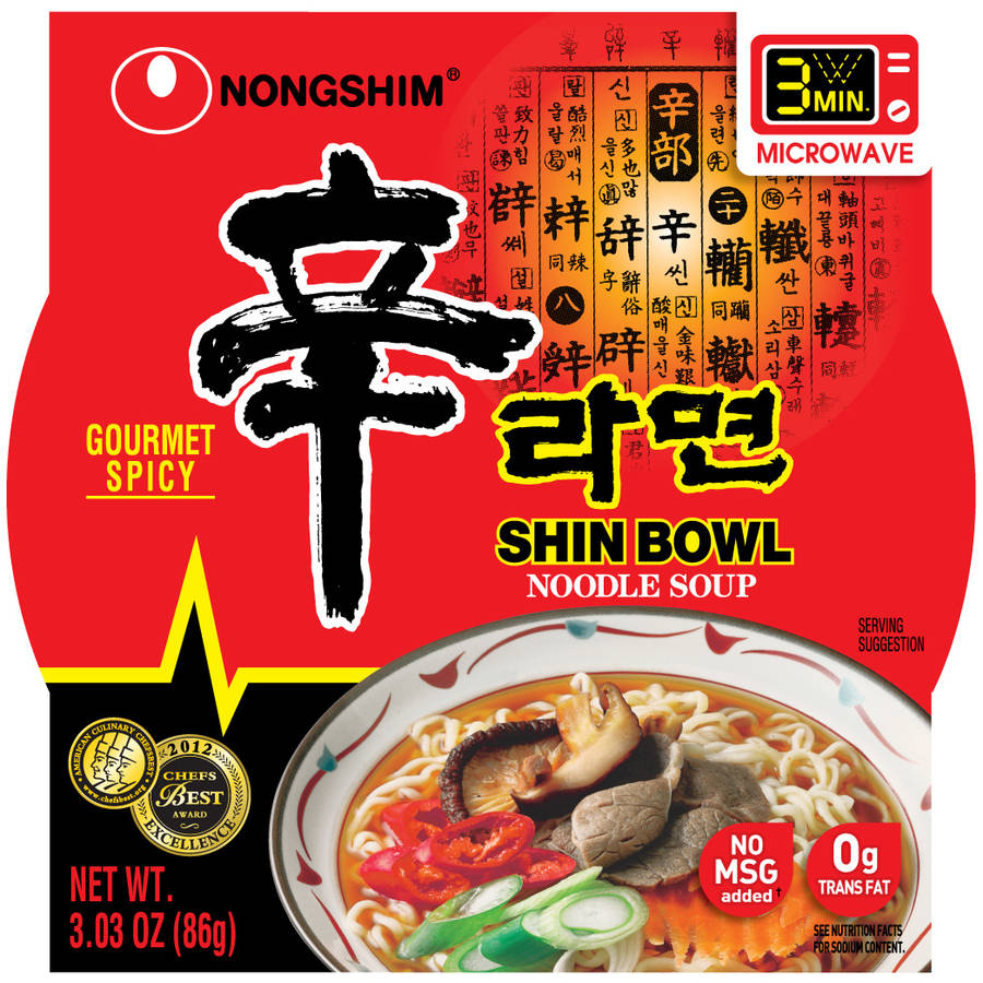 Nongshim Shin Bowl Noodle Soup, 3.03 oz, (Pack of 12)