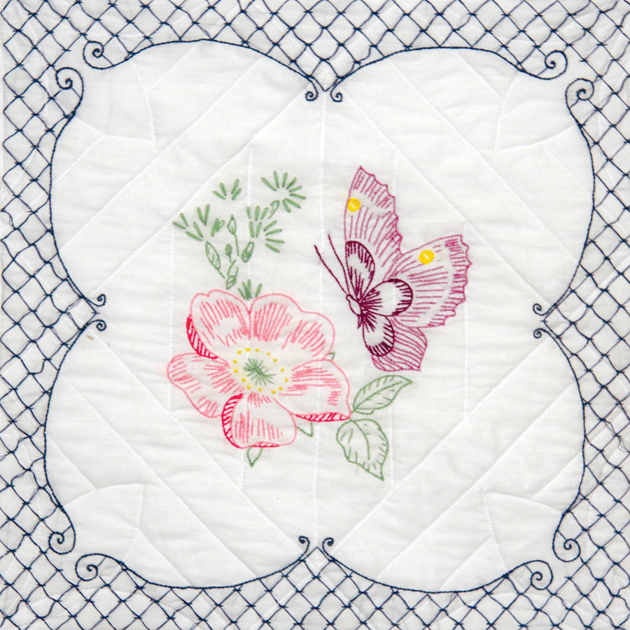 "Stamped Quilt Blocks, 18"" x 18"", 6pk, Butterfly Picture"