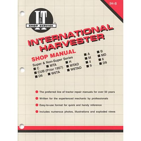 International Harvester: Super and Non-Series A, B, C, Mta, H, M, Md, Cub (Prior 1957), Mtad, 4, 6, D6, W6Ta, W6Tad, 9, D9