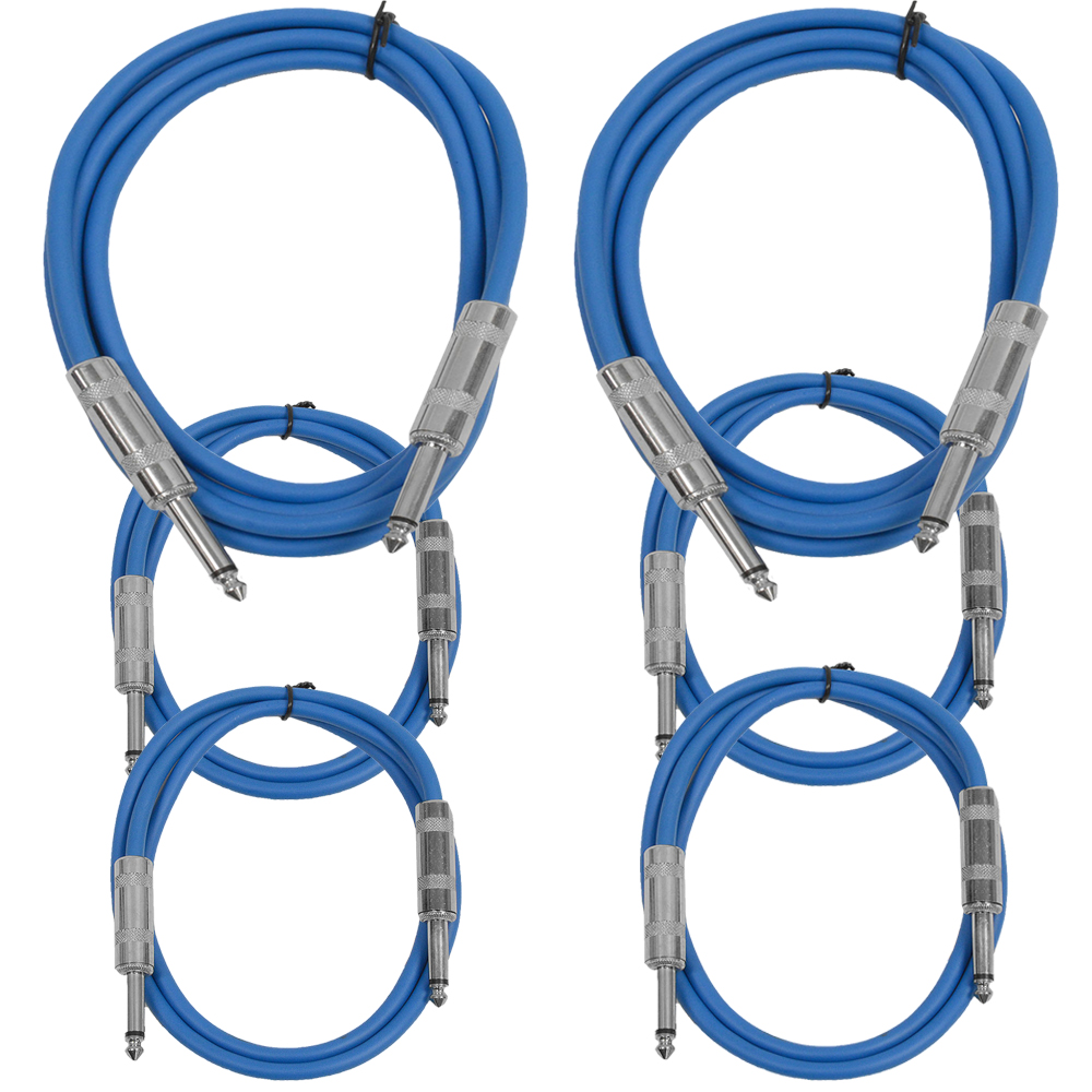 """Seismic Audio  6 Pk of Blue 1/4"""" TS Patch Cables  - Two 6 ft Two 3 Ft, Two 2 ft Blue - SASTSX-6C-Blue"""