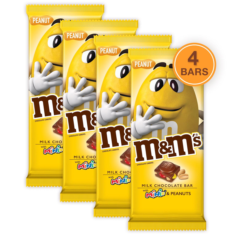 (4 pack) M&M'S Minis, Peanut Chocolate Candy Bar, 4 Oz