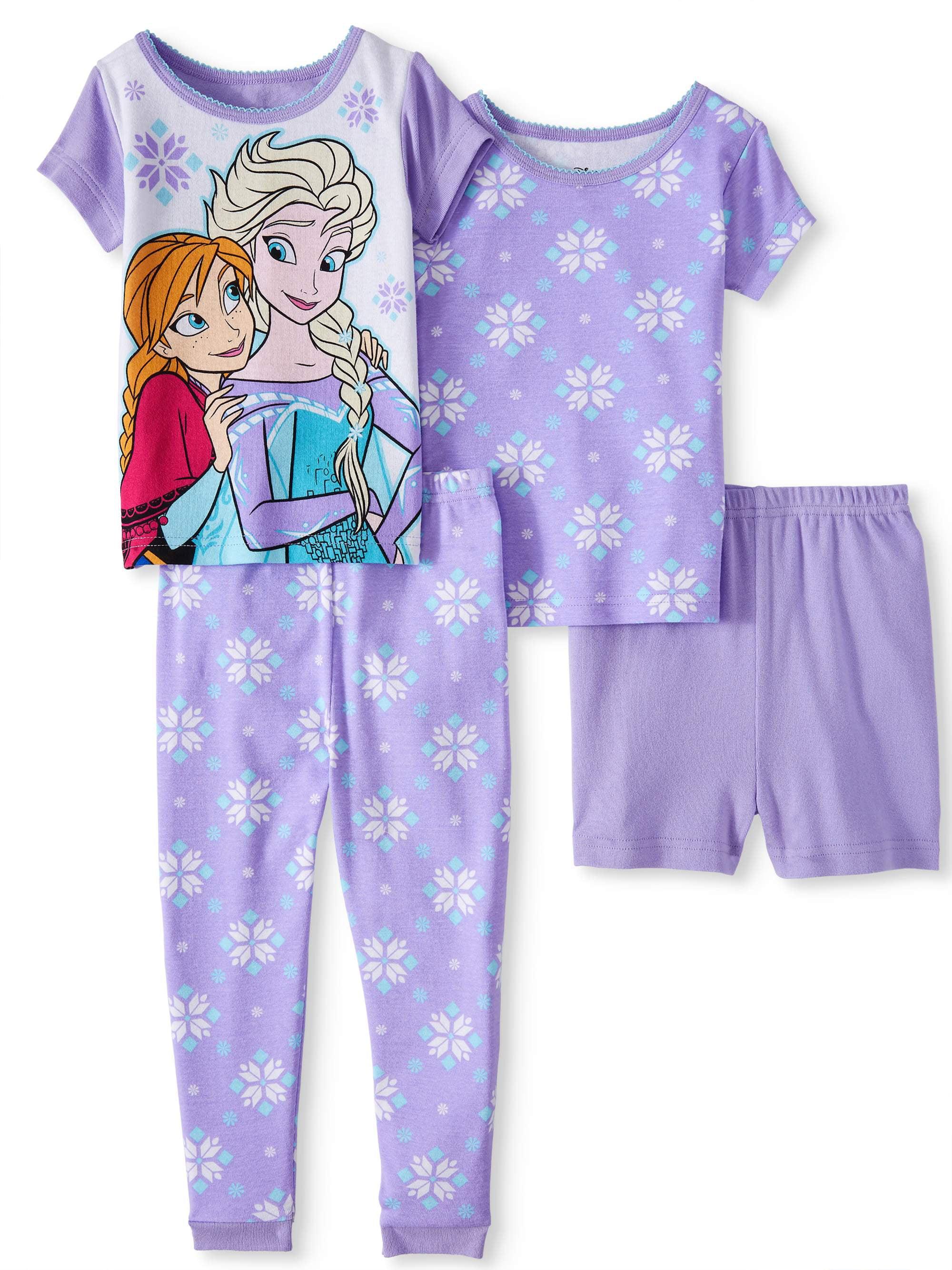 Cotton Tight Fit Pajamas, 4pc Set (Toddler Girls)