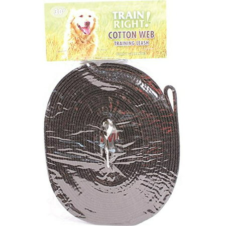 Products 00530 BLK30 Train Right! Cotton Web Dog Training Leash Black, 30 Ft, Durable designed to withstand the rigors of pulling and tugging By Coastal