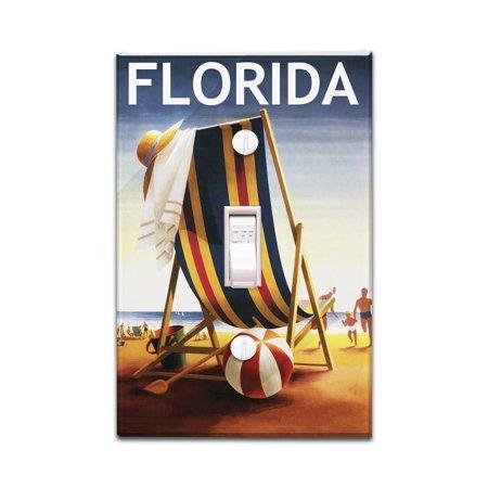 Florida - Beach Chair & Ball - Lantern Press Poster (Light Switchplate Cover) - Beach Ball Plates
