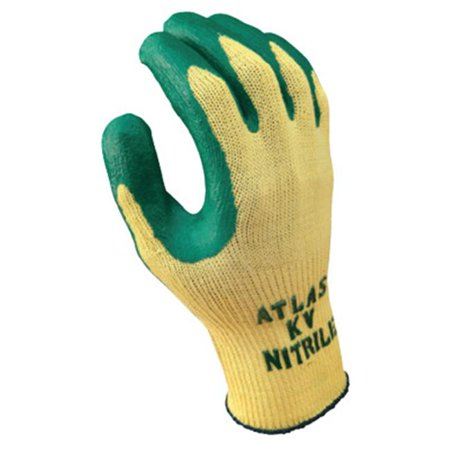 Best Glove 845-KV350L-09 Disposable Nitrile Palm Coating - Yellow & Green,