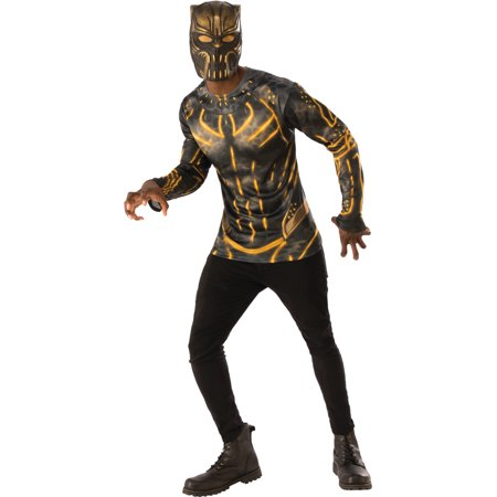 Mens Black Panther Killmonger Shirt And Mask Costume