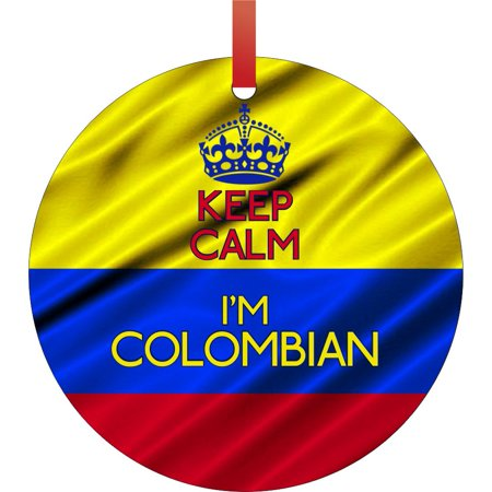 Keep Calm I'm Colombian - Flag Colombia Round Shaped Flat Aluminum Semigloss Christmas Ornament Tree Decoration for $<!---->