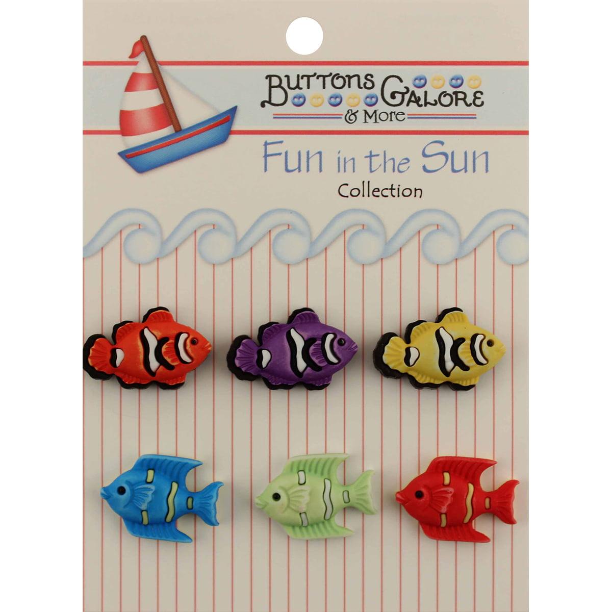 Fun In The Sun Buttons-Exotic Fish Multi-Colored